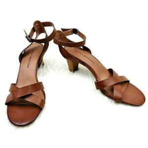 Lucky Brand Cognac Crisscross Stacked Heel Sandals